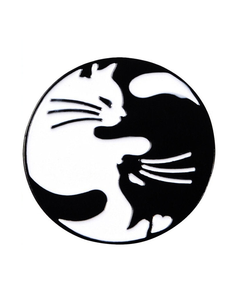 Vaudeville Rebel Yin Yang Cats Enamel Jacket Pin | Rebel Rebel Bruges
