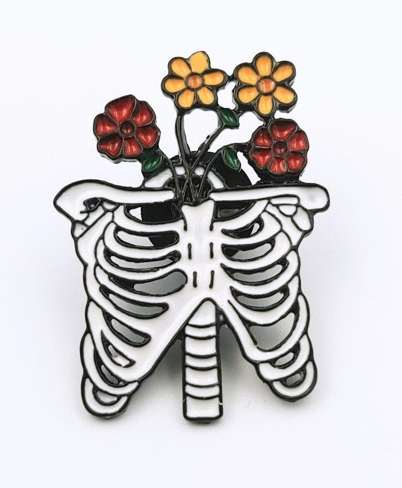 Vaudeville Rebel Floral Ribcage Enamel Jacket Pin | Rebel Rebel Bruges