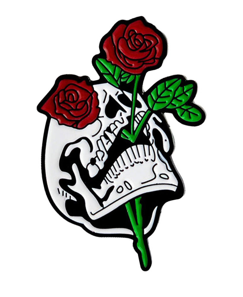 Vaudeville Rebel Skull & Roses Enamel Jacket Pin | Rebel Rebel Bruges
