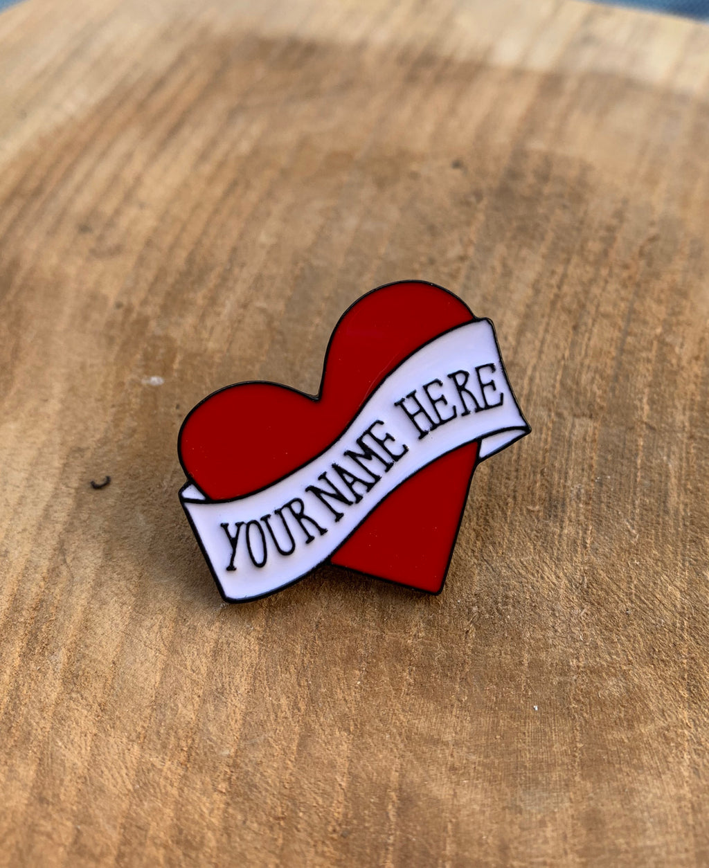Vaudeville Rebel Your Name Here Tattoo Heart Enamel Pin | Rebel Rebel Bruges