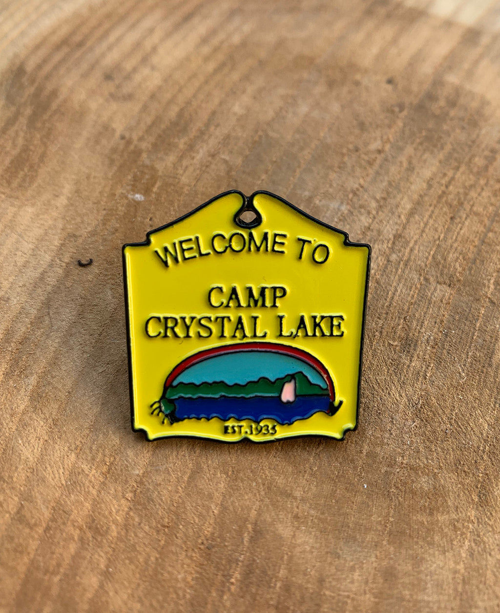 Vaudeville Rebel Camp Crystal Lake Welcome Sign Enamel Pin | Rebel Rebel Bruges
