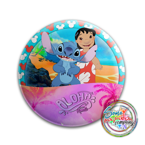 Aloha from Hawaii Lilo & Stitch Button