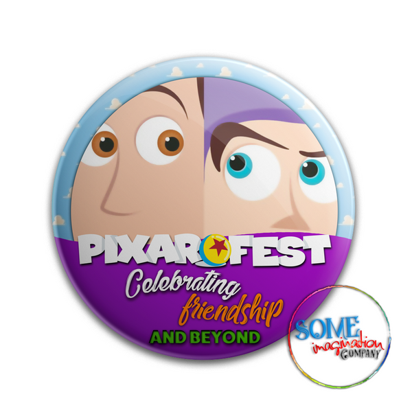 Buzz & Woody Celebrating Friendship Pixar Fest Button