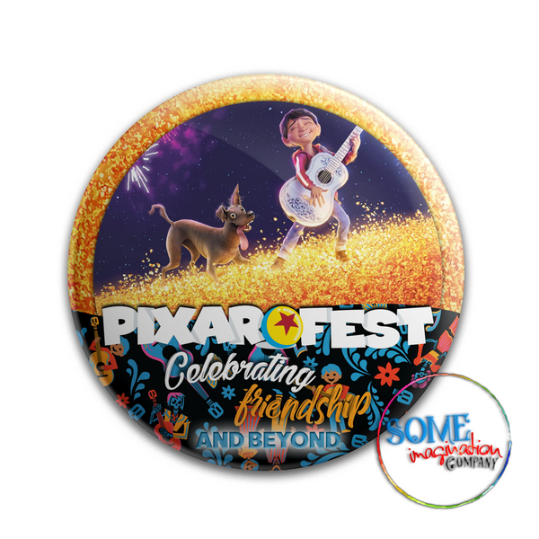 Dante & Miguel Celebrating Friendship Pixar Fest Button