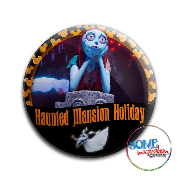 Sally & Zero Haunted Mansion Holiday Button