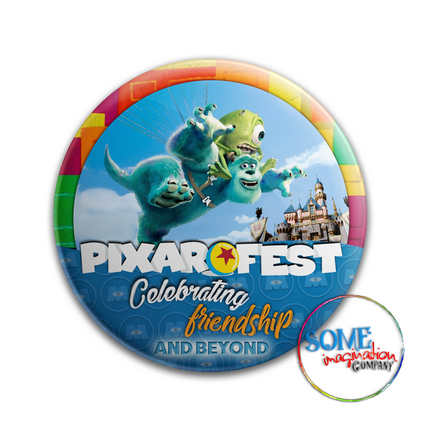 Mike & Sulley Celebrating Friendship Pixar Fest Button