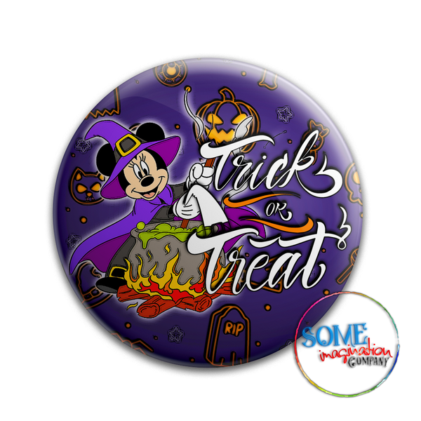 Minnie Mouse Trick or Treat Button