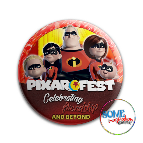 The Incredibles Celebrating Friendship Pixar Fest Button