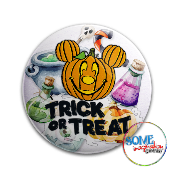 Mickey Pumpkin Trick or Treat Button