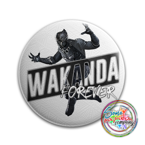 Wakanda Forever Black Panther Button