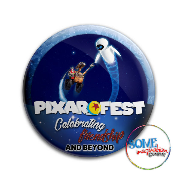 Wall E & Eve Celebrating Friendship Pixar Fest Button