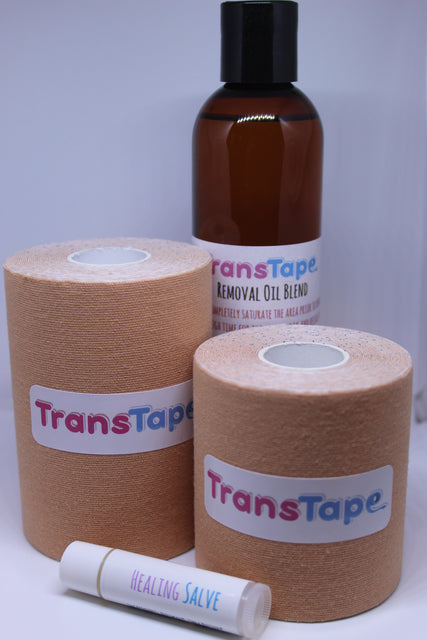 TransTape comes in 2 size variations with skin tone variations coming very soon. We offer a Removal Oil to assist in removing TransTape. We also have a Healing Salve to help keep your skin moisturized and healthy while using TransTape.