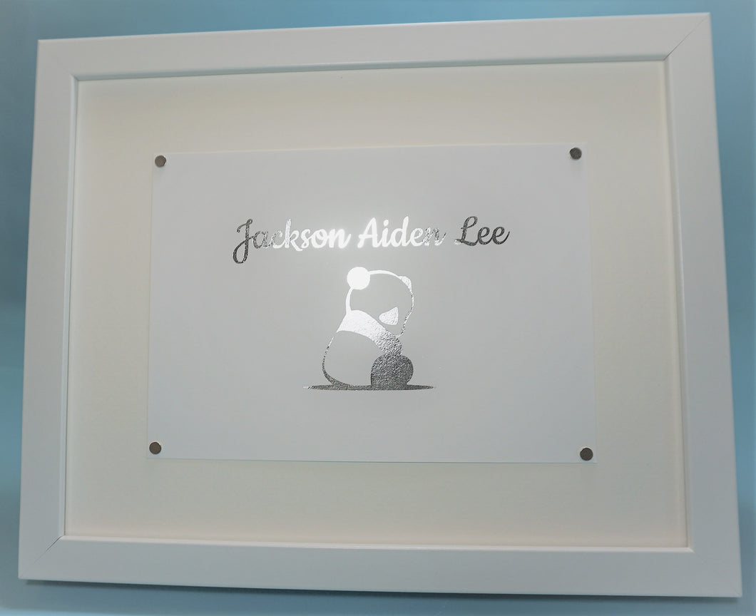 Personalized Nursery Foil Print with Baby Panda (4x6 or 5x7)