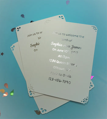 Pack of 10 Custom Flat Foil Invitations (Gold, Rose Gold, Silver or No Foil ONLY | 4x6 or 5x7)