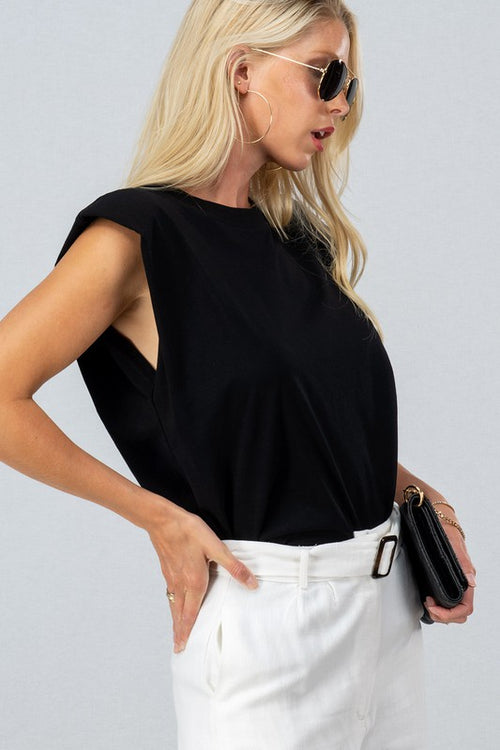 ELLA PADDED SHOULDER TOP