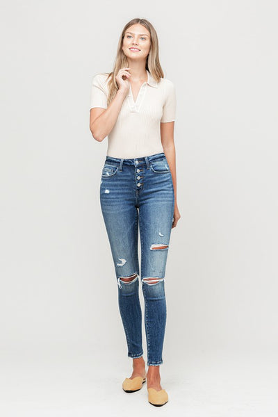 AMBER DISTRESSED BUTTON FLY SKINNY