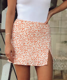 EVA ORANGE FLORAL SKIRT