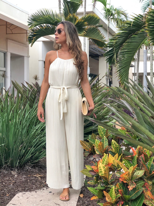 MAE CREAM PLEATED HALTER JUMPSUIT