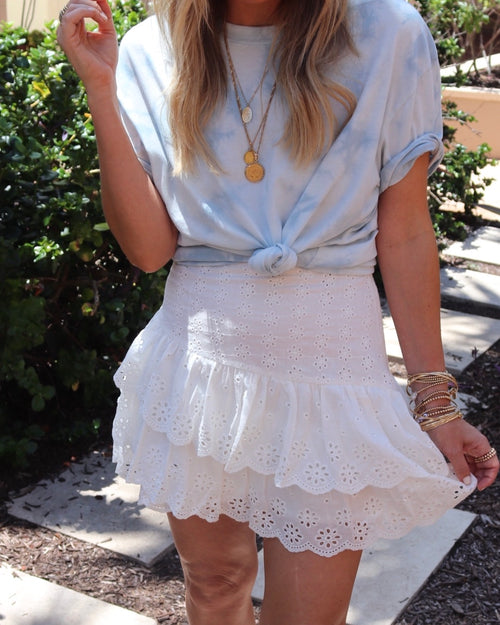 KAI EMBROIDERED RUFFLE SKIRT