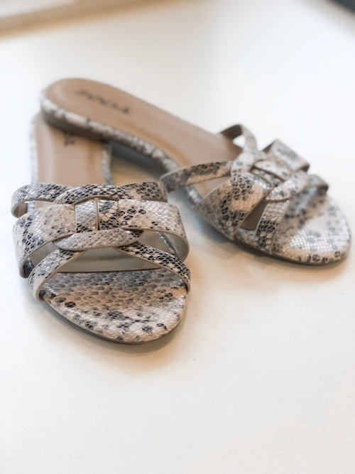 BETONY SNAKE SLIDE SANDALS