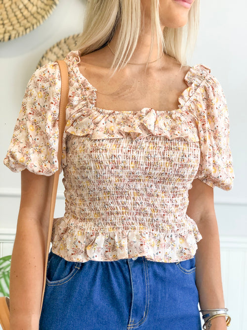 AVA SOFT PINK FLORAL SMOCKED TOP