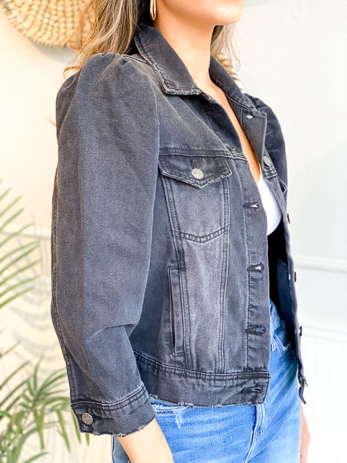PHOENIX PUFF SLEEVE DENIM JACKET