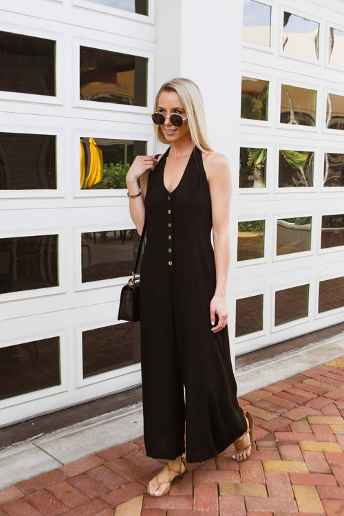 CRISTI BUTTON DOWN JUMPSUIT