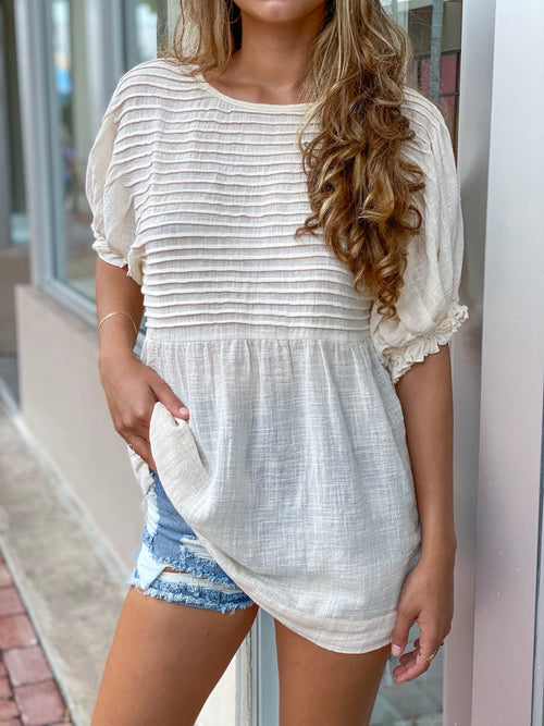 JASMINE PLEATED TUNIC TOP
