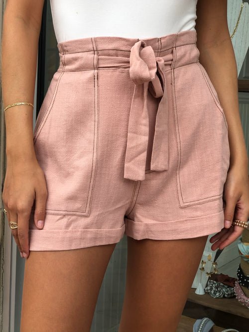 KAIRA ROSE HIGH WAISTED PAPERBAG SHORTS