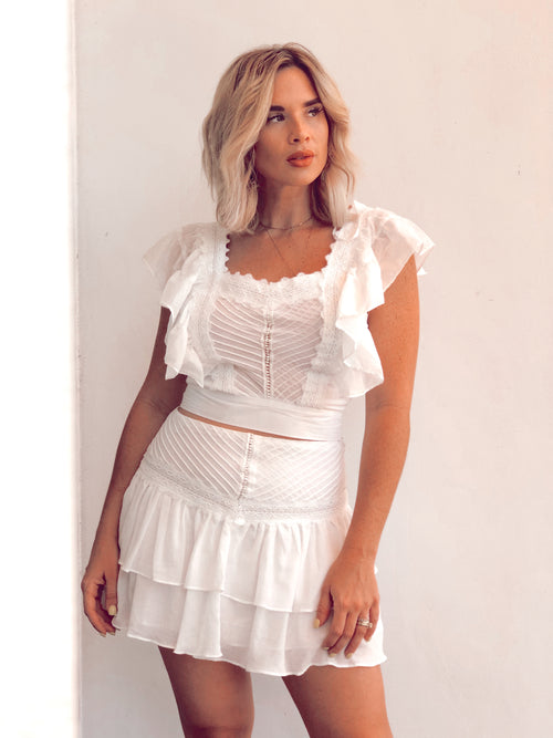 CACI LACE TRIM RUFFLE SKIRT