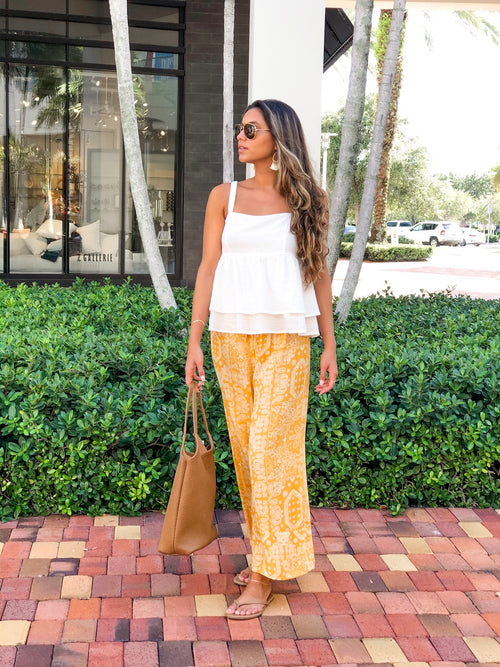 ARIA YELLOW PAPER BAG PANTS