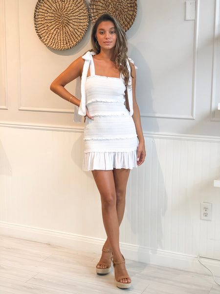ABOTT SMOCKED WHITE DRESS