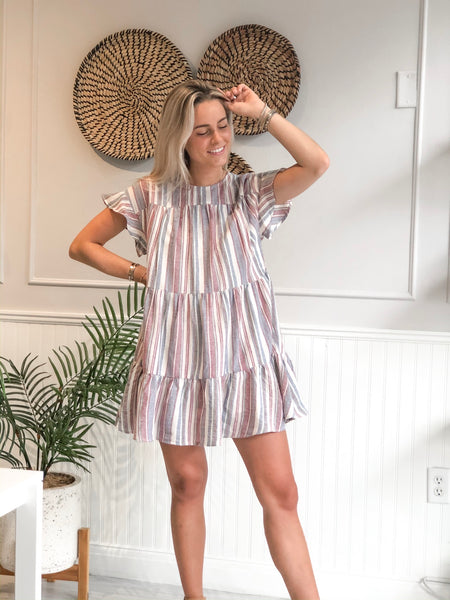 MADISON MULTI STRIPE TIERED DRESS