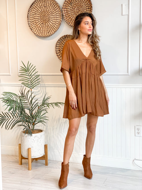 MOONGLOW RUST V NECK DRESS