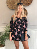 VIENNA BLACK FLORAL SMOCKED DRESS