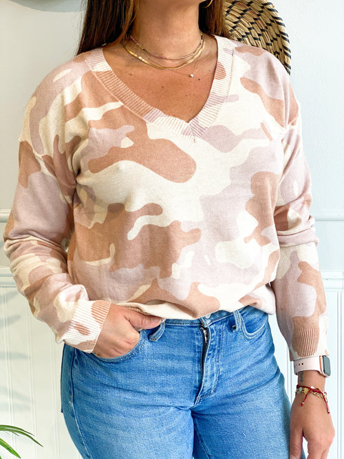 FIRESIDE CHATS BLUSH CAMO SWEATER