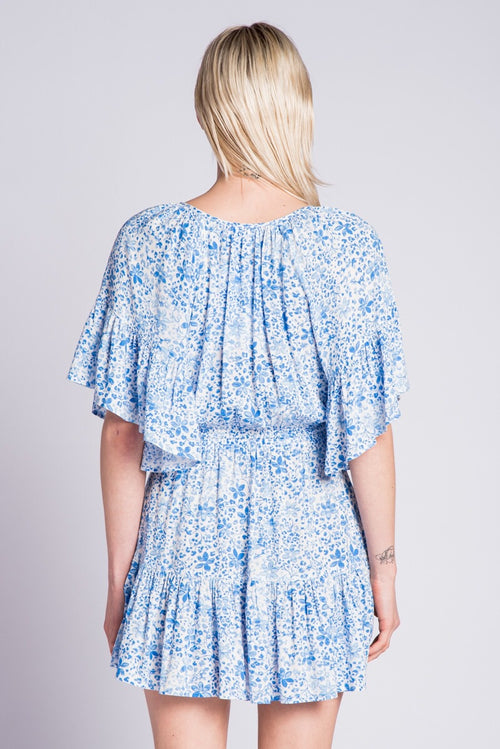 ZADA BLUE WATERPAINT RUFFLE DRESS