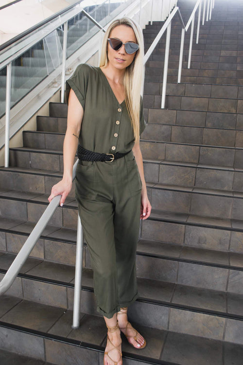 BENZO OVERSIZE BUTTON DOWN JUMPSUIT