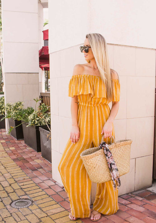 EMMA MUSTARD OFF THE SHOULDER JUMPSUIT