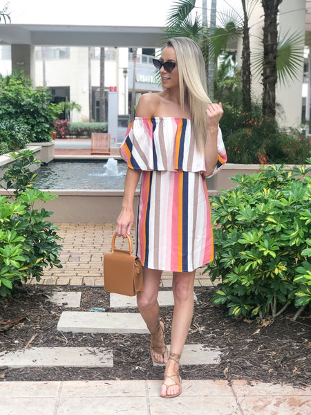 VENICE OFF THE SHOULDER RUFFLE DRESS