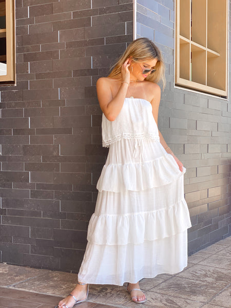 TERRABIANCA TUBE TIERED MAXI DRESS