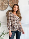 OXFORD ANIMAL PRINT ONE SHOULDER TOP