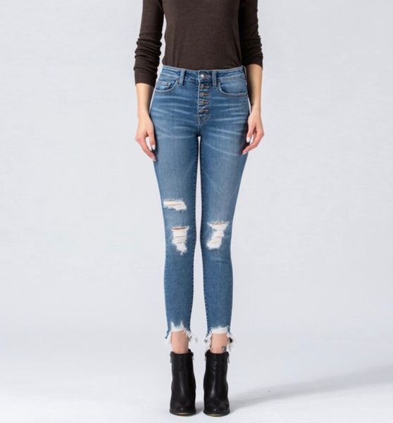 VICTORIA BUTTON UP CROP SKINNY DENIM
