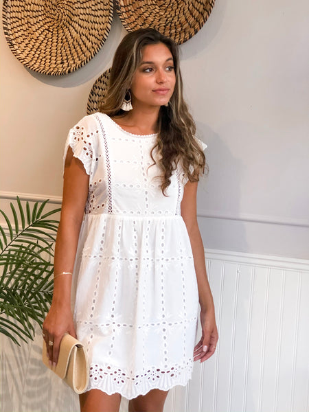 EVERLY WHITE EYELET RUFFLE DRESS