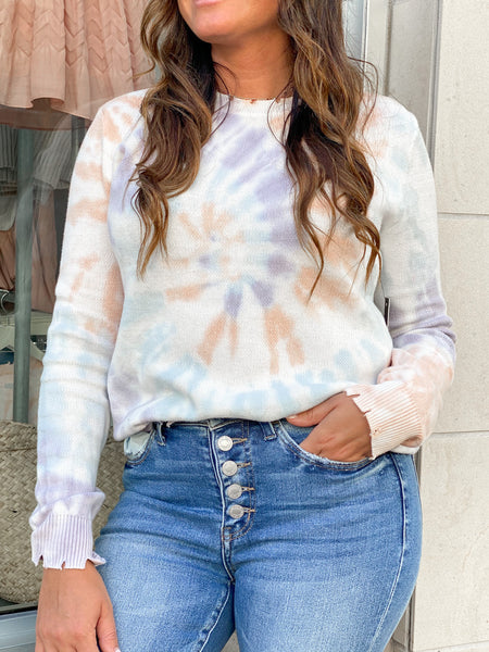 ROWAN BRIGHT TIE-DYE DISTRESSED SWEATER