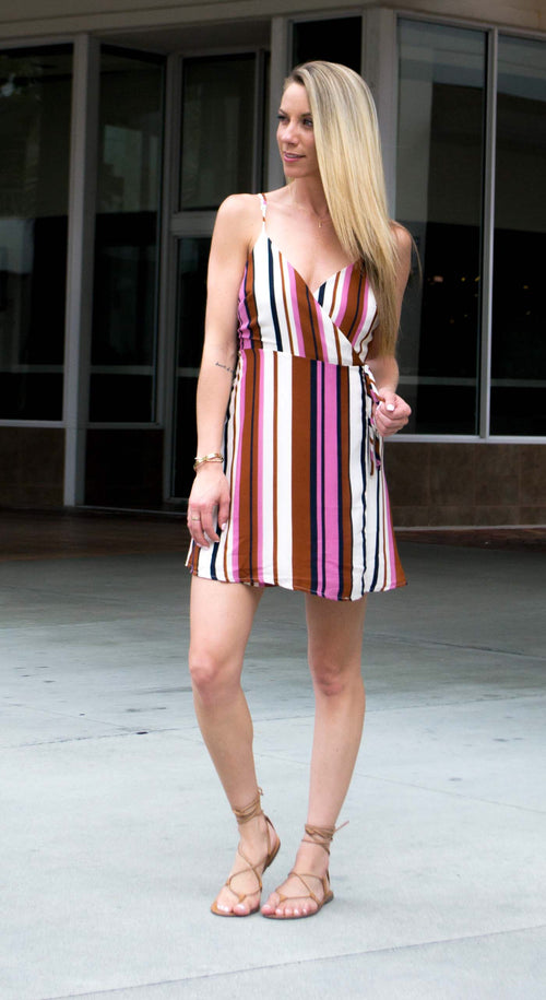 JACKSON STRIPED DRESS WITH WAIST TIE