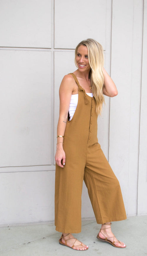 TOSHA BUTTON DOWN CULOTTE JUMPSUIT