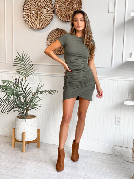 WRITTEN WITH LOVE OLIVE DRESS