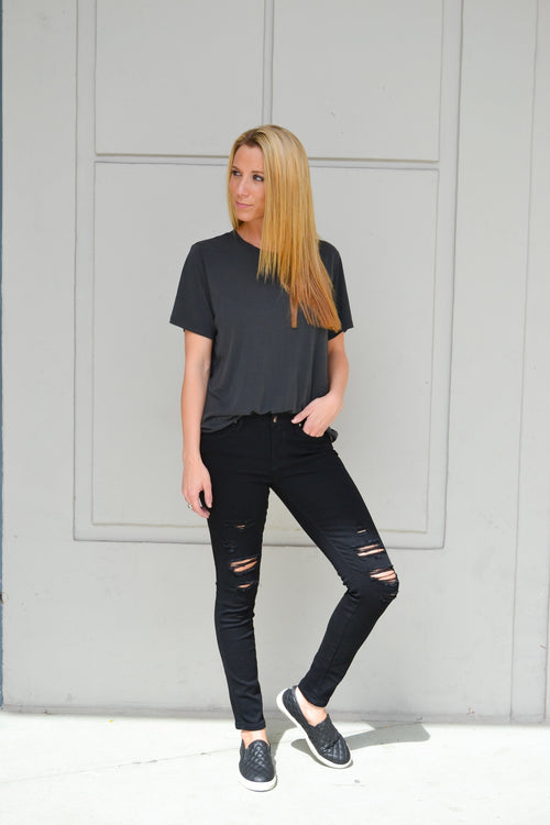 MARIANA BLACK HEAVY FRONT DESTROYED SKINNY
