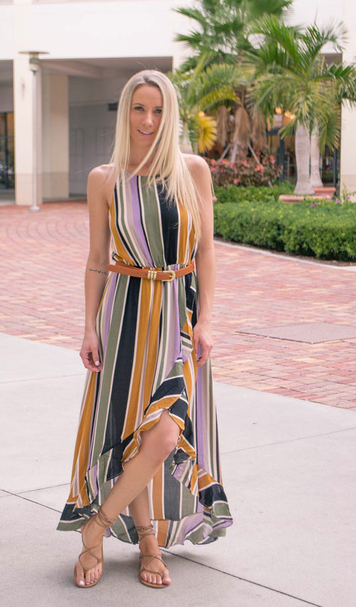 LENNA STRIPED WRAP MAXI